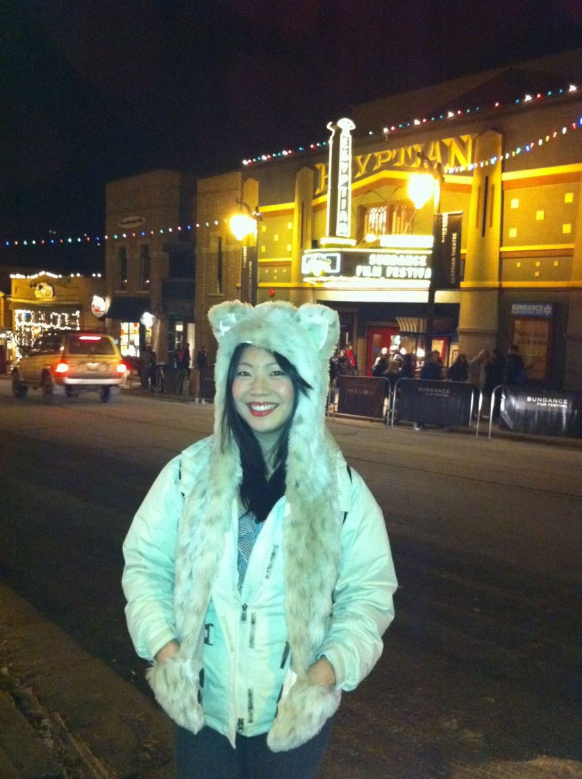 Cindy Chu in front of The Egyptian for Sundance 11, in her Snow Leopard Spirithood