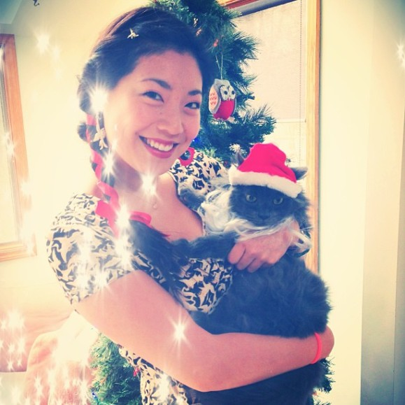 Cindy Chu and Santa Claws Jinxie Cat