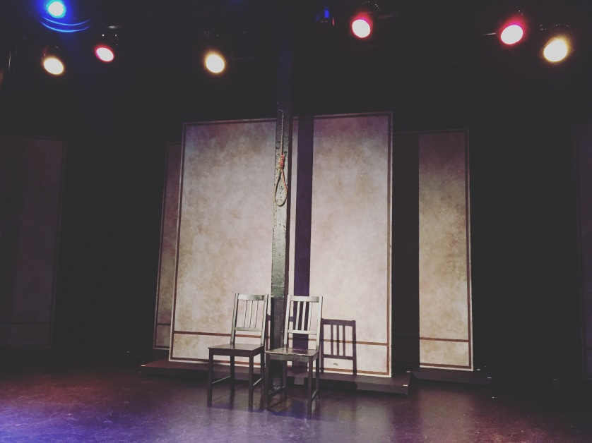 Michaela Myers' stage setup for her one-woman show I Am Vertical, performed at the Comedy Central Stage in Hollywood